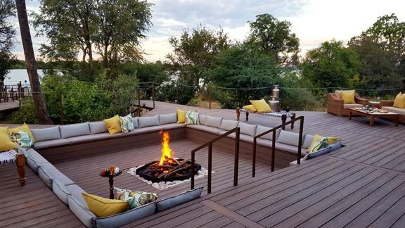 Old Drift Lodge, Victoria Falls - Old Drift Lodge, River View from Main Area Fire-Pit