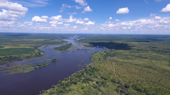 Aerial View of the Mpala Jena Concession & the Zambezi River - Aerial View of the Mpala Jena Concession & the Zambezi River