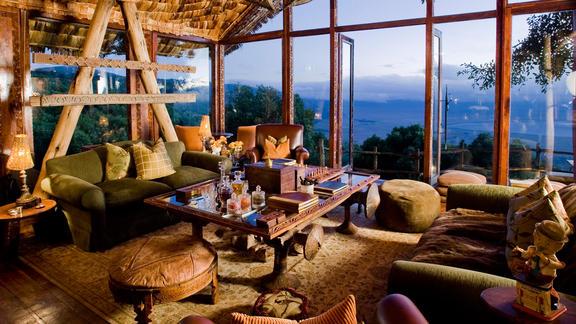 Ngorongoro Crater Lodge - Maasai meets Versailles, ornate intreriors with traditional Maasai manyata exteriors