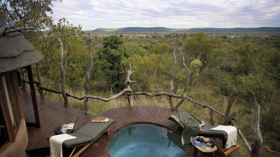 Private swimming pool, often interrupted by elephants walking past -