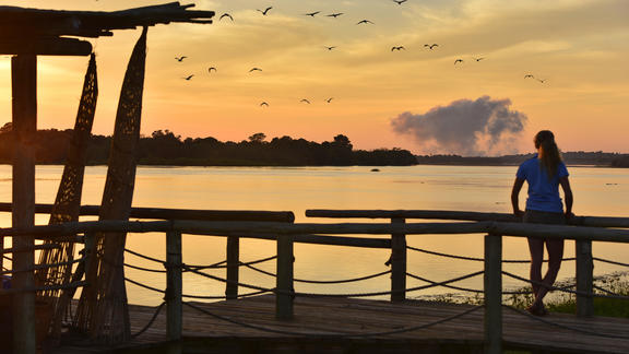 Victoria Falls River Lodge - View of the spray from jetty -